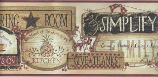 FOLK ART KITCHEN INSPIRATIONAL SIGNS WALLPAPER BORDER FP00841B