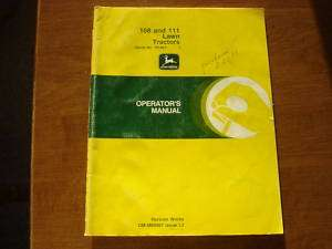 John Deere 108 111 garden tractor owners manual