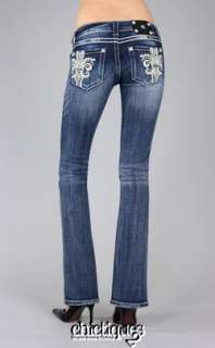MISS ME Jeans Leather Pyramid Crystal Fleur de Lis Denim Boot Cut