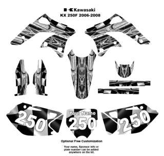 Kawasaki KX 250F   2006 08 Graphic Decal Kit 2001Metal