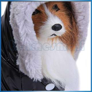 Pet Dog Hoodie Hooded Puffy Coat Jacket Jumpsuit Fluffy Hood Trimming