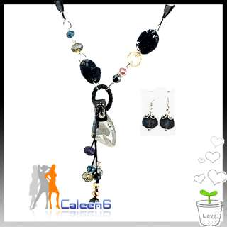 New Ladies Crystal Necklace Fashion Sweater Chain Black
