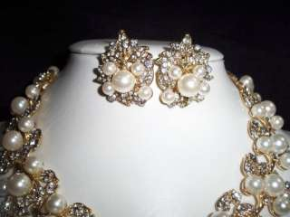 Wedding Bridal Crystal Leaf Pearl Necklace, Earring Set **NEW**