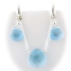 Aqua Briolette Sterling Silver Cable Chain Necklace Earrings Swarovski