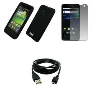 EMPIRE Black Silicone Skin Case Cover + Screen Protector