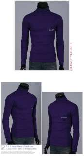 Mens Slim Fit Turtleneck Sweaters Casual Stylish Long Sleeve Shirt
