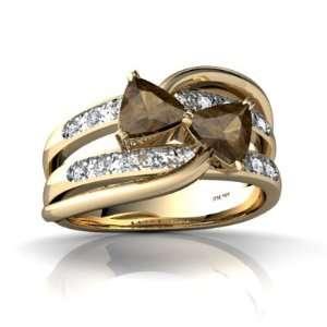 14K Yellow Gold Trillion Genuine Smoky Quartz Ring Size 5 Jewelry