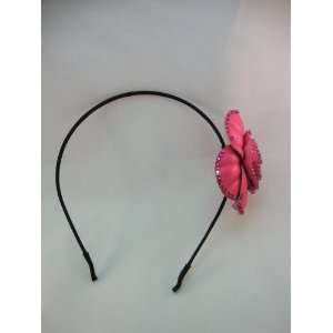 Hot Pink Leather and Crystal Headband