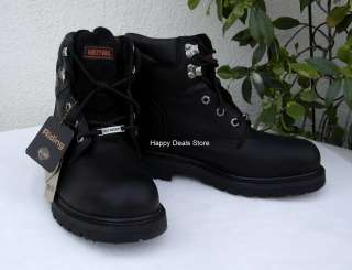 DAVIDSON MENS BLACK LEATHER MOTORCYCLE 6 STEEL TOE BOOTS SIZES 7 12