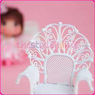 DOLLHOUSE MINIATURE FURNITURE WHITE WIRE TABLE & CHAIR