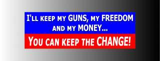 Anti Obama You Can Keep the Change Bumper Sticker Decal