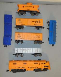 Marx O Scale Plastic Loco + 6 Cars including Erie Log Dump Car