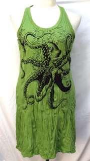 Octopus Hippie Punk Rock T Shirt Mini Tank Dress Top Tunic Sz XL