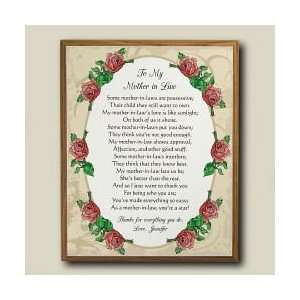 Personalized Mother in Law Mothers Day Wood Plaque