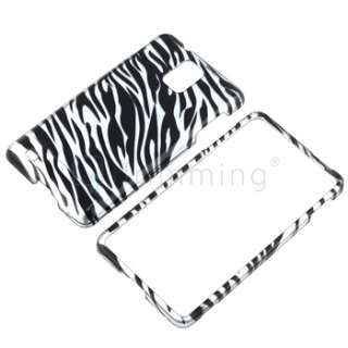 Zebra Rubberized Hard Coated Cover Case+LCD Film Guard For Samsung