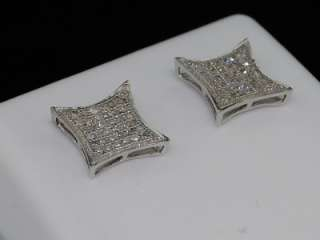 MENS LADIES WHITE GOLD FINISH DIAMOND STUD EARRINGS