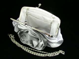 Charming Silver/White Rose Satin Wedding Purse Clutch FEC 098156