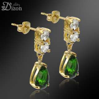 Personalized Jewelry PEAR CUT GREEN EMERALD YELLOW GOLD PLATED STUD