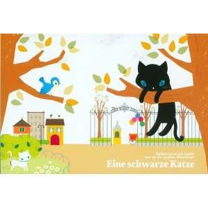 cute black cat postcard on a tree Toys & Games