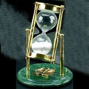 Legal Sand Timer on Green Marble with Scales of Justice Emblem Home