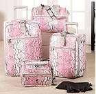 NEW Heys Expandable Snakeskin 4 Piece Luggage Set PINK BONUS SHOE BAGS