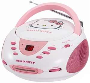 HELLO KITTY Portable Stereo CD Player and AM FM Radio COMBO Pink/White