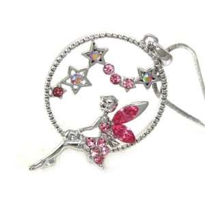 Adorable Pink Ice Crystal Fairy in the Moon and Star Charm