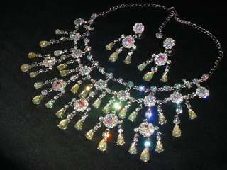 RHINESTONE CRYSTAL CHANDELIER NECKLACE & EARRINGS SET