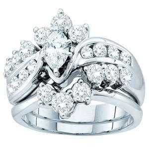 Marquise Round Diamond 14k White Gold Bridal Set w/ Ring Guard Band