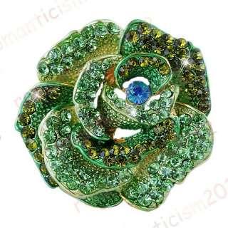 FREE green Floral Brooch Pin W Czech rhinestone crystal