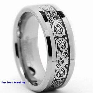 Tungsten Carbide Ring Celtic Silver Dragon Scroll Inlay Wedding Band