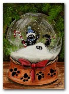 Peek n Boo Cosmo Black Cats Christmas Snow Globe FuN ACEO LE Print