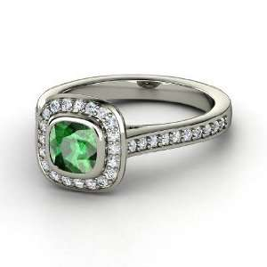 Ring, Cushion Emerald 14K White Gold Ring with Diamond Jewelry
