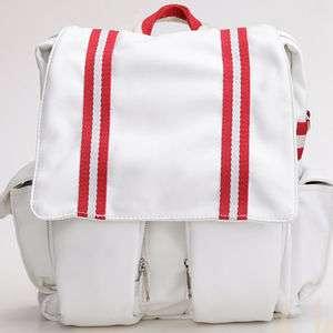 Mens Leather Laptop Backpacks school bag(WHITE)13