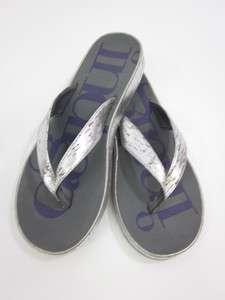 NIB INDIGO Silver Tone Cork Thong Sandals Shoes Sz 8
