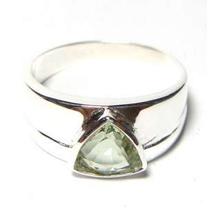 BIG 1.5Ct NATURAL GREEN AQUAMARINE GEMSTONE SILVER RING THAIROCKSHOP
