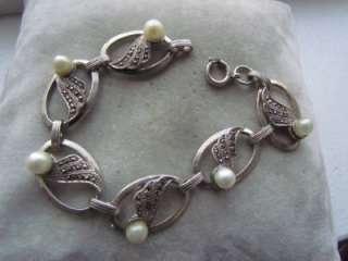 Antique Danecraft Sterling Silver Pearl Marcasite Bracelet