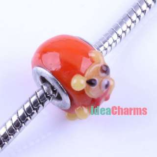 18x Mixed Craved Cartoon Animal Glass Lampwork Charm Bead Fit Bracelet