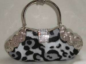 Silver/Black leopard Print Crystals Evening Clutch Bag