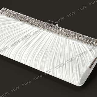 Silver SATIN CRYSTAL DIAMANTE EVENING CLUTCH PURSE BRIDAL PROM BAG