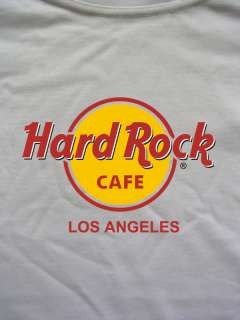 White Los Angeles USA Hard Rock Cafe T Shirt 100% Cotton Tshirt