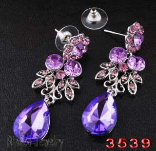 Elegant purple necklace rhinestone jewelry sets 1set