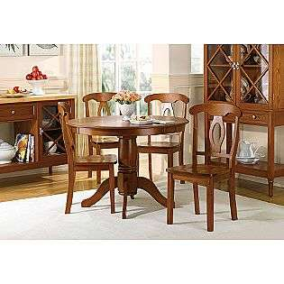 Piece Light Mahogany Wood Pedestal Dining Table Set  Country Living