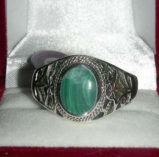 Unisex Sterling Silver Genuine Filigree Malachite Ring Size 14