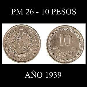 1939 Paraguay 10 Peso Coin    Extremely Fine Condition    One Year