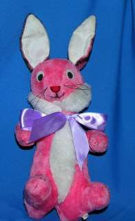 CUTE, MINTY 1960S VTG PINK PLUSH STRAW STUFFED EASTER BUNNY
