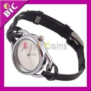 Elegant Leather String Bracelet Lady Quartz Wrist Watch