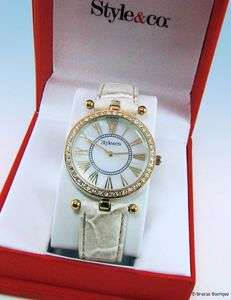 &Co. Gold Tone CRYSTAL Accented Bezel Leatherette Strap WATCH