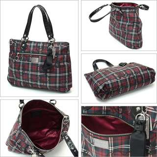 NWT COACH POPPY TARTAN GLAM SHOPPER TOTE PURSE 18713 SV/M2 BLACK MULTI