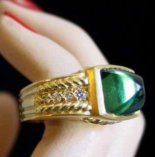 JUDITH RIPKA 18K Y GOLD DIAMOND & Green TOURMALINE RING